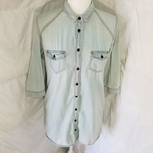 Long button up mid-sleeve shirt
